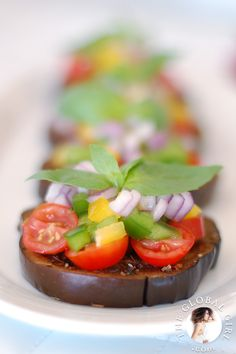 "The Global Girl Raw Food Recipes: Eggplant bruschetta with tomato and basil. This healthy ""no bread"" Italian appetizer is raw, vegan, gluten free, wheat free and dairy free."