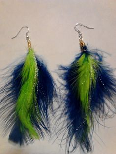 Seahawks colored feather Earrings by SplitPersona1ity on Etsy 29cb55800