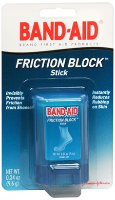 If this works, I need it! BAND-AID Friction Block Stick -  helps prevent blisters. I need this to do some heel training... I have been off the heels for a bit. It's like having a layer of socks on!