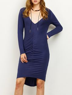 Plunging Neck Ruched High-Low Pencil Dress