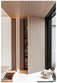 Home Room Design, Living Room Designs, Wood Interior Design, Wooden Ceiling Design, Interior Lighting Design, Wood Interior Walls, Architectural Lighting Design, Wood Slat Wall, Wood Slat Ceiling