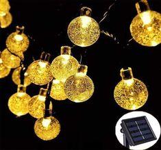 19Ft 30LED Solar Globe String Light Crystal Balls Outdoor Waterproof Fairy Light