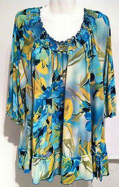New Plus Size AVENUE Stretch Tunic Top Short Sleev SZ 22/24 3X Perfect Mothers Day Gift!