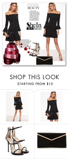 """""""Black Scallop Off The Shoulder Ruffle Dress"""" by fa-style ❤ liked on Polyvore featuring Giuseppe Zanotti and shein"""