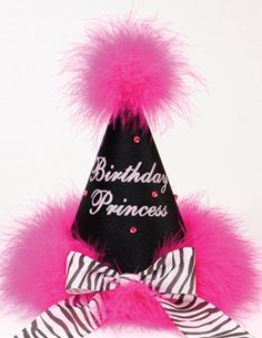 Birthday Princess Zebra Hot Pink Marabou Party Hat