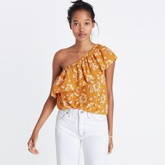 A flirty one-shoulder top with a '70s-inspired ruffle. In a pretty print that gives a nod to Indian woodcuts, this silk style easily crosses the day-to-night divide. <ul><li>True to size.</li><li>Silk.</li><li>Dry clean.</li><li>Import.</li></ul>