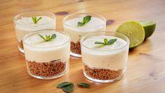 Receta de vasitos de Cheesecake de mojito con hierbabuena, lima, aroma de ron. Sin gelatina y sin horno. Fácil y rápida. Mojito, Magic Recipe, Relleno, Cupcakes, Panna Cotta, Pudding, Ron, Cookies, Ethnic Recipes