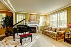 Family Room Layouts With A Corner Baby Grand Piano