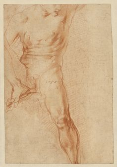 Pontormo (Jacopo Carucci), 1494-1557, Italian, Seated Figure (recto), 1520. Red chalk with some stumping; 29.4 x 20 cm. J. Paul Getty Museum, Los Angeles. Mannerism.