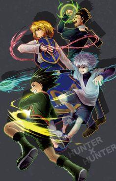 Kurapika, Leorio, Killua and Gon – Hunter Hisoka, Killua, Hunter X Hunter, Hunter Anime, Manga Anime, Anime Art, Girls Anime, Anime Guys, D Gray Man Anime