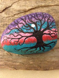 Painted Rock Mystical Bohemian Tree of Life by BrownsThreadWorks