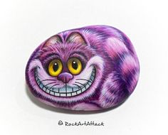 Cheshire Cat Hand Painted on a Small Stone by RockArtAttack!