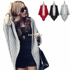 New Lady Batwing Casual Loose Sweater Knitting Long Cardigan Shawl Outwear HD23L