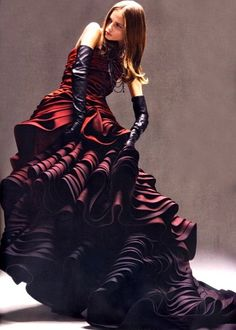 dark ombre waves - yucky gloves, gorgeous gown