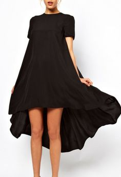 Vestido asimétrico mangas cortas-Negro