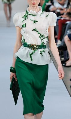 Oscar de la Renta Resort 2013 Kelly Green skirt with a white and green blouse