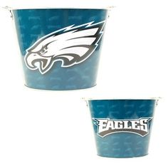 "Philadelphia Eagles Metal Beer Bucket by NFL. $11.39. Officially Licensed. Holds 6 Long Neck Bottles, Plus Ice. Perfect for Parties, Bars, Restaurants and Dorm Rooms!. Great for that Man Cave!!. This 9""x7"" Round Metal Bucket is perfect for parties, bars or restaurants! Holds 6 long neck bottles, plus ice. Can also be filled with sand and used for cigarette butts or other decorations!"