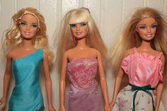 3 Pretty Blond Barbie Dolls  - Loose & dressed #Mattel