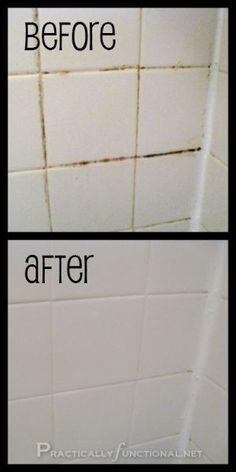 16 Easy Hacks for a Sparkling Bathroom -- mold, mildew, gunk, scum... all gone!