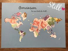 Wedding - money gift * world map * together - a designer piece by Still-Lov . - Wedding – Money Gift * World Map * Together – a unique product by Still-Love on DaWanda - Love Vintage, Diy Wedding On A Budget, Customizable Gifts, Gift Table, Thank You Gifts, Wedding Trends, Diy Gifts, Personalized Gifts, Wedding Gifts