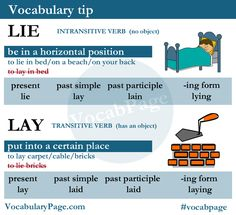 Lie VS Lay www.vocabularypage.com