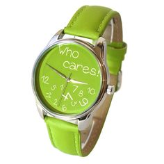 ZIZ Green Who Cares Watch With Leather Band/ by ZIZAccessories
