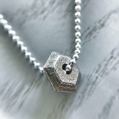 Stirling Silver necklace >> Stainless Steel faceted Gemstone >> Octagonal > Charm pendant >> personalised > gift for her >