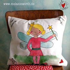 Prinzessin Lilia; Fee; Kuschelkissen zur Taufe aus Bio-Baumwolle, individuelles Geschenk zur Taufe, Geschenk Patenkind