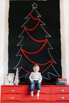 DIY Chalkboard Dropcloth Background (for alternative Christmas tree or any other holiday decoration you want) - tutorial from Simply Radiant Wall Christmas Tree, Black Christmas Trees, Noel Christmas, All Things Christmas, Christmas Crafts, Christmas Decorations, Holiday Decorating, Decorating Ideas, Christmas 2019