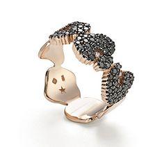 Anel de ouro rosé 18K com diamantes negros e brancos - Coleção Ancient America