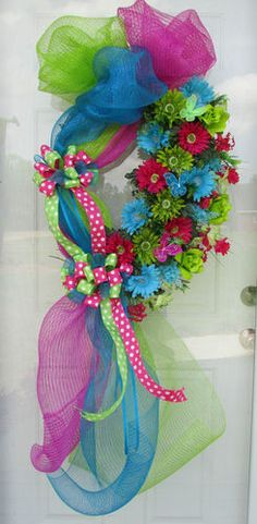 Spring Summer Door Wreath Deco Mesh Polka Dot Ribbon | eBay - $74.99 w/$15.00 shipping