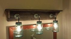 Primitive Shabby Chic Barn Wood Rustic Mason Jar Shelf Vintage Vanity Light