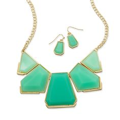 Acrylic and Gold Tone Fashion Necklace and Earring Set (Available in 3 Colors)