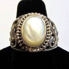 Mother of Pearl Ring  Sterling Silver Vintage by HeirloomSilver, $65.00