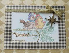Tarjeta pajaros en Navidad, tarjetas artesanales, tarejtas hechas a mano, tarjetas para toda ocasión