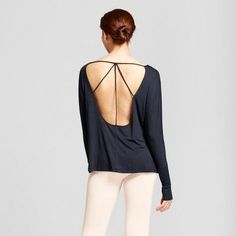 Women's Open Back T-Shirt with Ribbed Sleeves - JoyLab Black Xxl