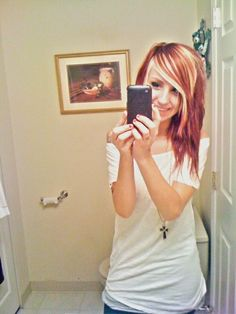 red hair with blonde highlights <3