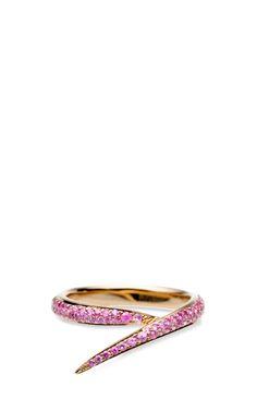 Rose Gold And Pink Sapphire Single Interlocking Ring by Shaun Leane for Preorder on Moda Operandi