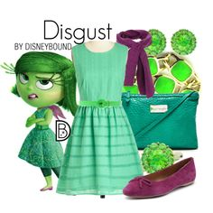 Disgust by leslieakay on Polyvore featuring BCBGeneration, ExOfficio, CAFèNOIR, disney, disneybound and disneycharacter