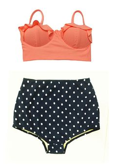 Old Rose Orange Midkini Pad Top and Navy Blue Polka by venderstore, $39.99