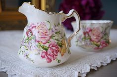 Antique Hammersley Cream and Sugar Set, Pink Carnations, English Bone China, England, Open Sugar Bowl and Creamer, Small Floral Pitcher