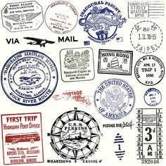 Series of stylized retro/vintage passport style stamps of different...
