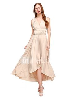 LAN TING BRIDE Asymmetrical Jersey Convertible Dress Bridesmaid Dress - A-line V-neck Plus Size / Petite with 2017 - €88.19