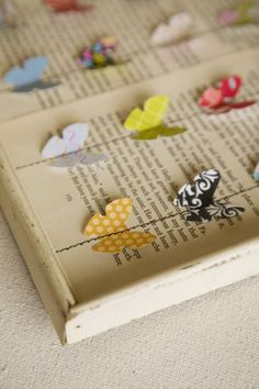Vintage book pages with butterflies