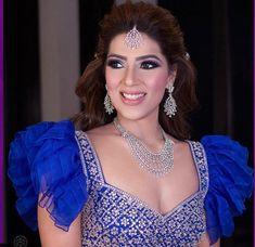 Dazzling blue ruffled blouse Blouse Styles, Blouse Designs, Lehenga Skirt, Stylish Blouse Design, Yellow Blouse, Dramatic Look, Bridal Lehenga, Ruffle Blouse, Blue