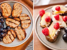 Grilled crostini with pear and raspberries: 1 whole grain baguette, or slices of whole wheat bread olive oil goat cheese (a log of it, not goat cheese crumbles) pear, cut into 1/4-inch thick slices raspberries honey lemon, juiced freshly ground black pepper sea salt, optional