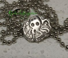 Octopus Stamped Fine Silver Pendant PMC3 by GirlwithaFrogTattoo, $30.00