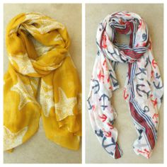 Anchors & Starfish <3 Nautical inspired scarves <3