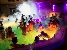 Visit the Lukacs Baths Magic Bath Party for Budapest Nightlife. Operates every Saturday night from February-December. 22 Euros per person.