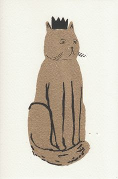 The Golden Cat Greeting Card by Caitlin Hinshelwood  on Little Paper Planes